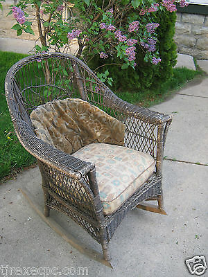 Antique Wicker Rocker Rocking Chair original cushions Furniture  Pick Up Only ()