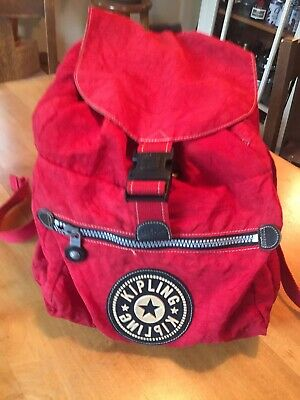 Vintage Kipling Drawstring Buckle Nylon Backpack RED Biking Commuter Baby Bag
