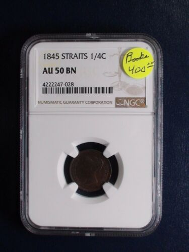 1845 Straits Settlement One Quarter Cent NGC AU50 BN 1/4C Coin PRICED TO SELL!