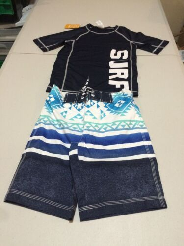 NWT Gymboree boy rash guard Surf Geo Swim Trunk Shorts Set 5/6 UPF 50+ 5/6,7/8