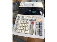 Sharp El-1801piii 12 Digit 2 Color Printing Calculator