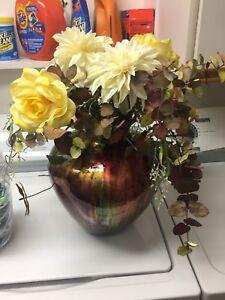Large vases & 4 wine Italian glasses