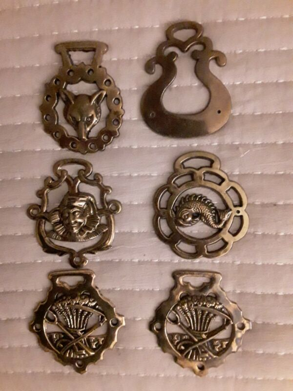 Vintage Brass Harness Medallions Set of 6