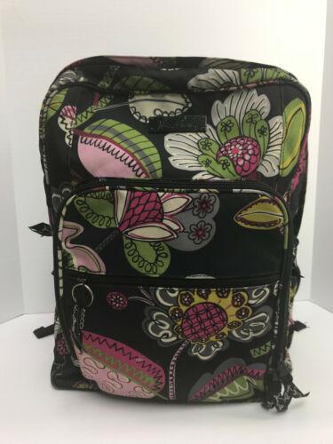 Vera Bradley Moon Blooms Black Floral School Backpack