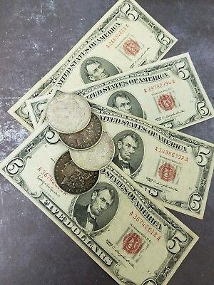 (1) $5.00 Red Seal & (1) 1921 MORGAN 90 % SILVER DOLLAR