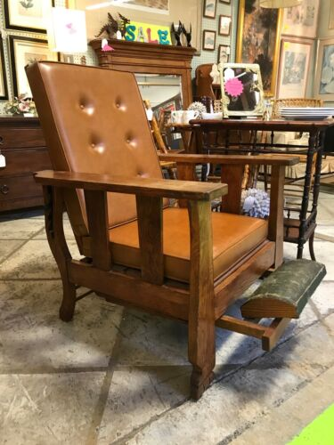 """ARTS AND CRAFT MISSION """"MORRIS"""" CHAIR~RECLINER W/FOOTREST-EXCELLENT!"""