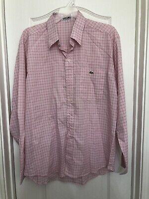 The Best Lacoste Vintage Pink Plaid Short Sleeve Button Front Shirt Men's