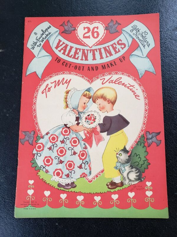 Vintage 1947 Whitman 26 Valentines Cut-Out & Make Up UNCUT Cards Hilda & Wilma