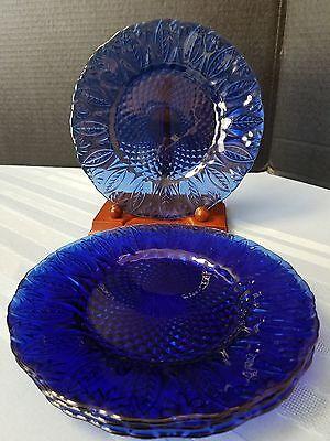 "AVON Royal Sapphire Cobalt Blue 7-3/4"" Salad Luncheon Plates FRANCE Set of 4"
