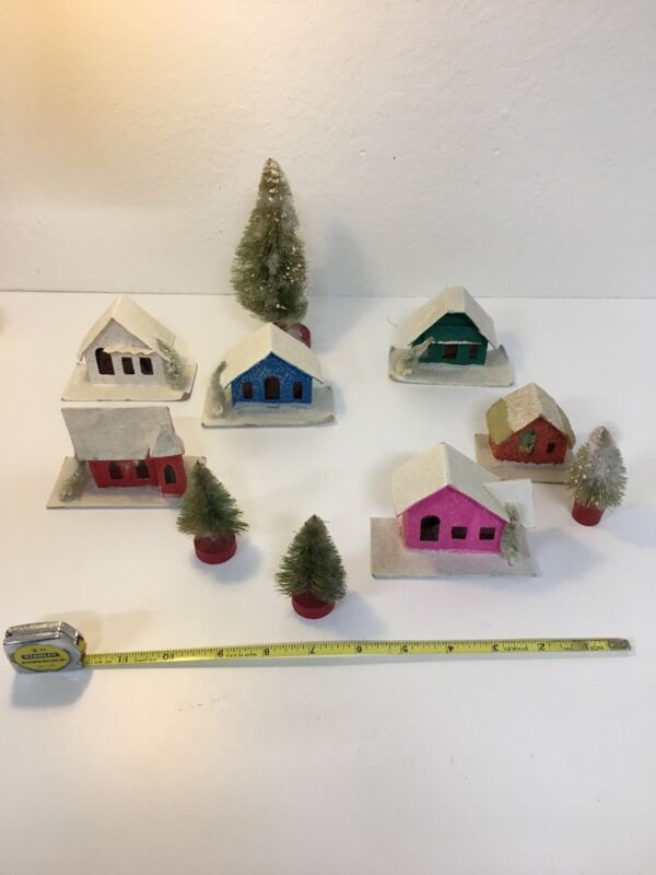 Vintage MADE IN JAPAN- Paper House Christmas Ornaments, with trees Putz?