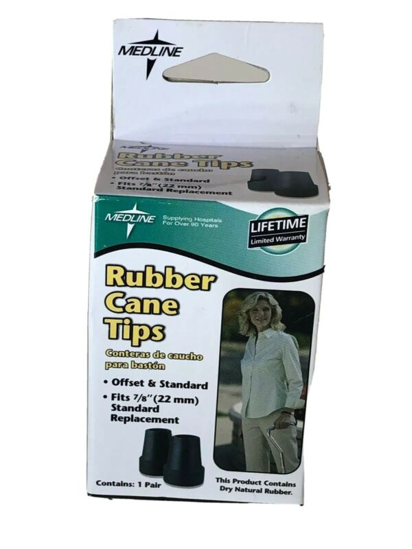 """NEW in Box - Medline Rubber Cane Tips 7/8"""" Black (One Pair)"""