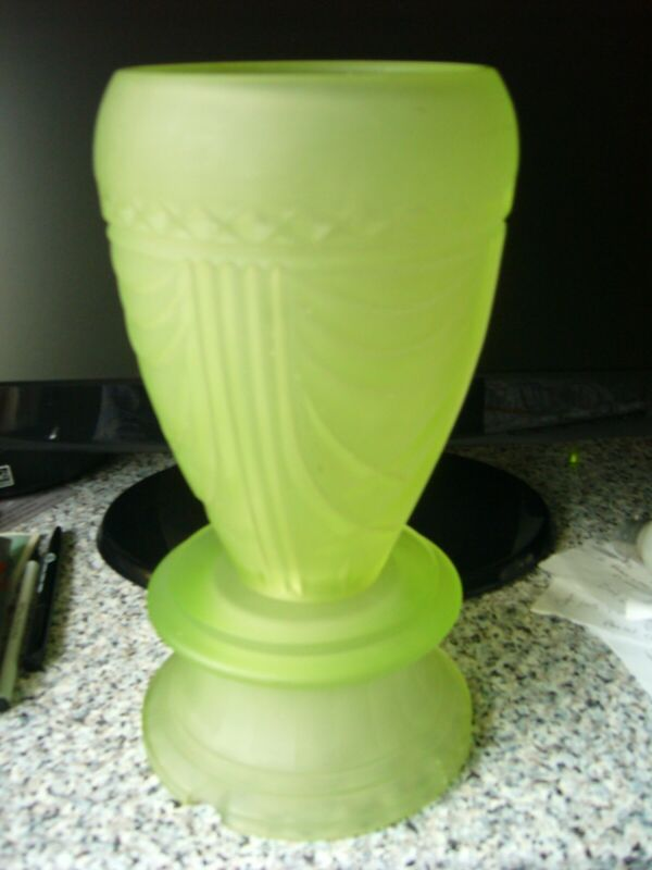 VERY RARE BAGLEY ART DECO GREEN GLASS BERKLEY LAMP