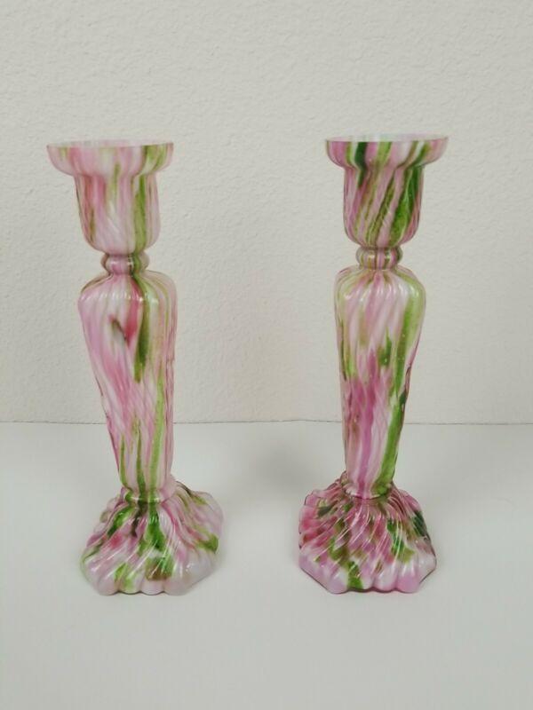 RARE Czech Bohemian Art Kralik Green Pink Gold Flecks Candlestick Pair