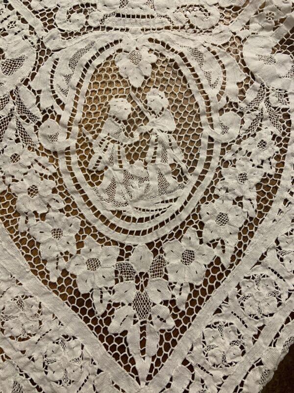 Antique Point De Venise Italian Figural Needlelace White Tablecloth 112x58