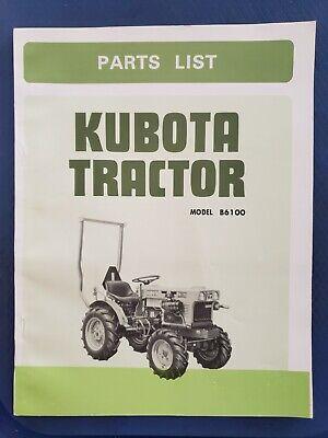 Kubota Tractor Model B6100 Parts List