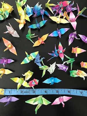 ORIGAMI CRANES Lot of 75 Folded Paper Birds [Various Ombre (Fold Origami Bird)