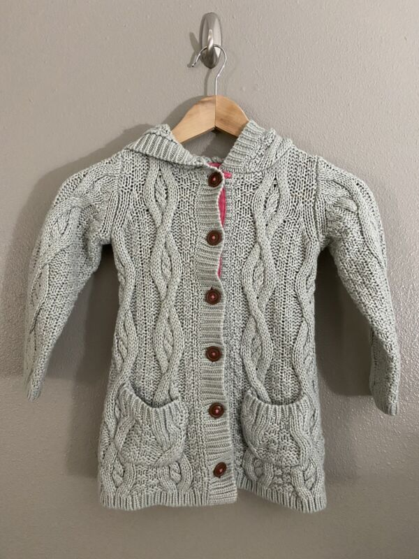 Mini Boden girls sz 5-6 cable cardigan Gray/Hot Pink Trim, great condition
