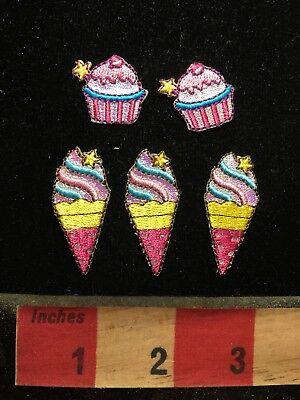 Snack Patch Lot - 3 Ice Cream Cones & 2 Cupcakes S69X (Snack Cones)
