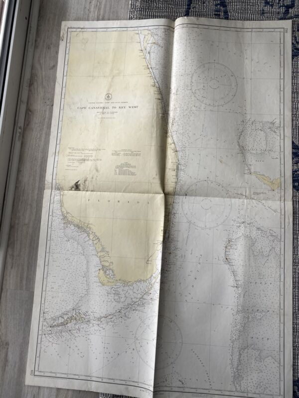 Original Nautical Chart Map Cape Canaveral to Key West Fla. 1112  Issued 1941