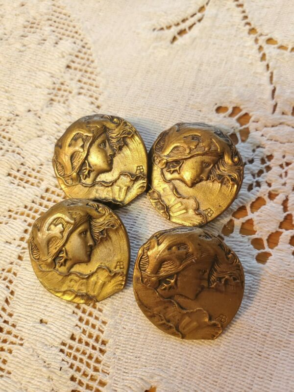 4 Antique Armand Bargas Art Nouveau Picture Buttons Eau