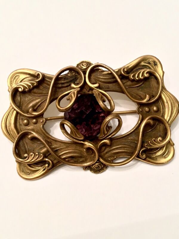 Antique Art Nouveau Large Brass Brooch Pin With Faceted Amethyst Glass