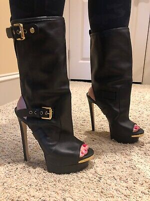 Dsquared2 Black Leather Open Toe High Heel Platform Ankle Mid Calf Boots 38 7.5