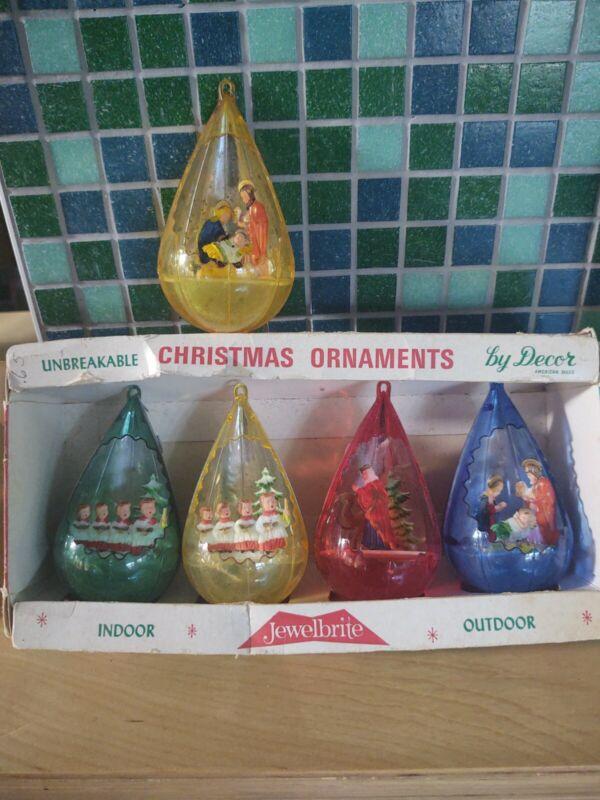 Five Vintage Jewelbrite Plastic Diaroma Christmas Teardrop Ornaments