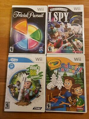 Lot of 4 Wii Trivia Games Trivial Pursuit Ultimate I Spy U Draw Crayola Nintendo