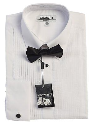 Shirt Men Tuxedo  Formal  Wing Collar Lay Down Wingtip With Bow Tie Black Cuff  Formal Wing Collar Tuxedo