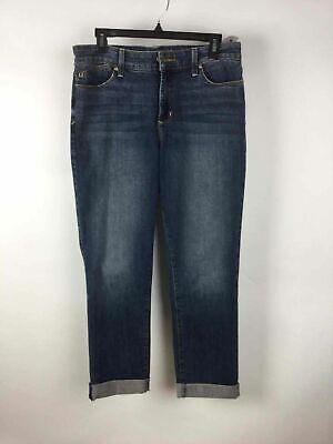 NYDJ Blue Distressed Denim 5-Pocket Cuffed Legging Jeans Jeggings 12 5 Pocket Distressed Denim Jeans