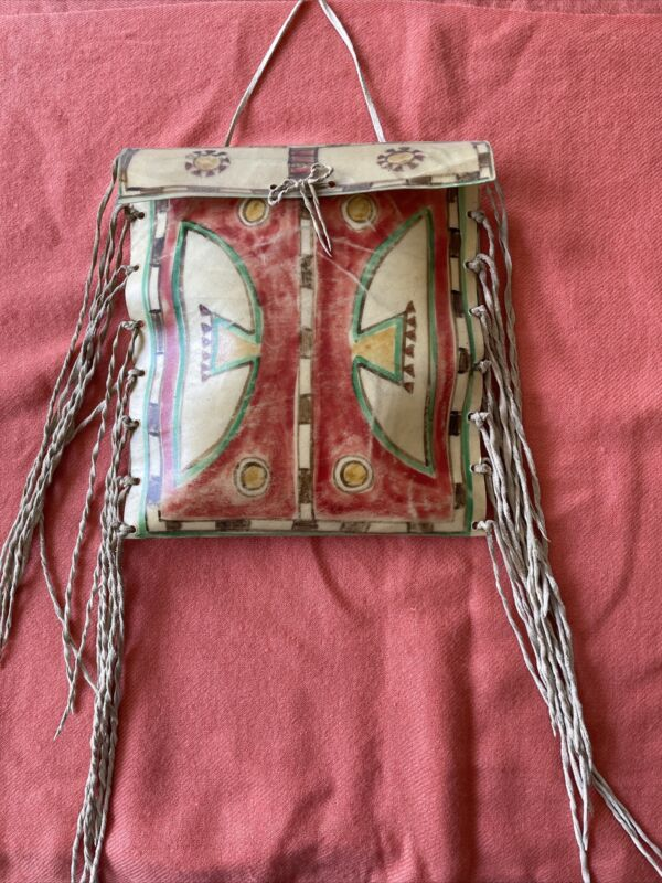 Souvenir Apache parfleche rawhide leather flat fringed decorative bag unsigned