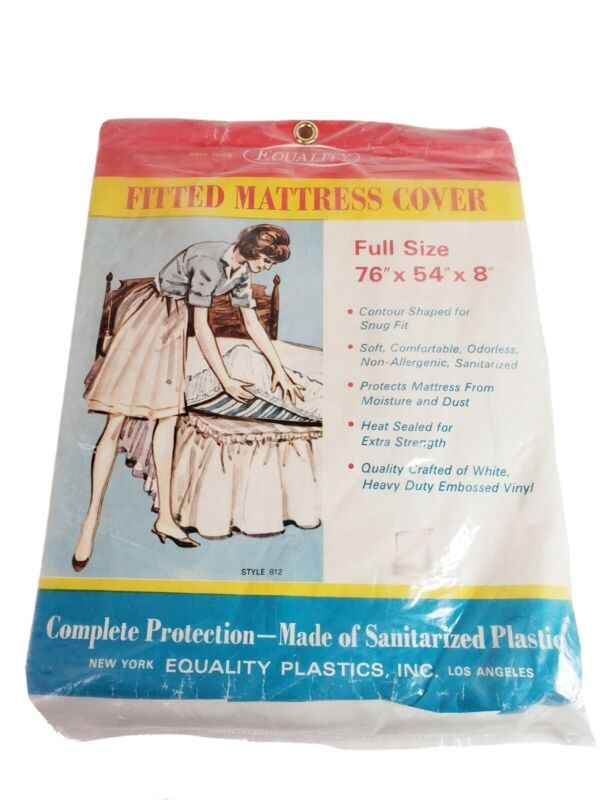 Vintage Equality Fitted Mattress Cover NEW NOS Sanitarized Plastic