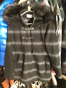 Seraphine maternity coat with faux fur trim hood