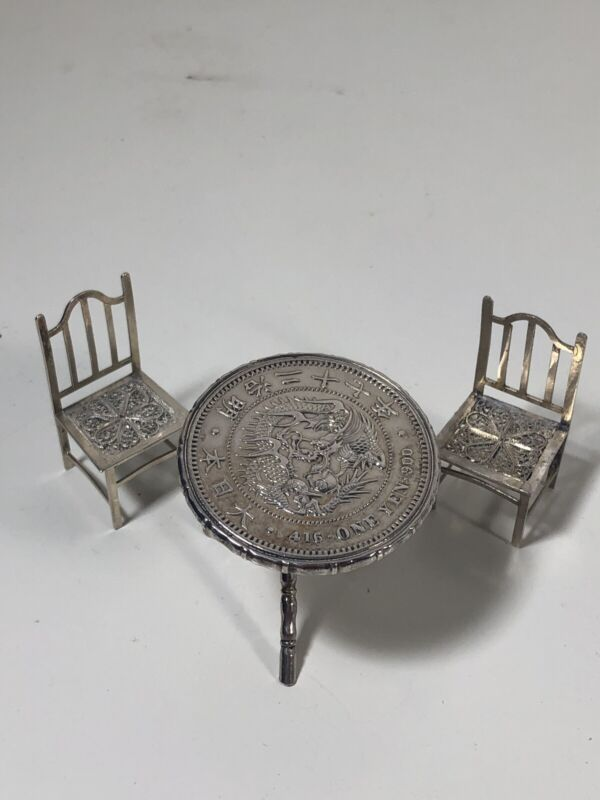 Vintage Sterling Silver Set of Table & Chairs (made from Chinese Coin)