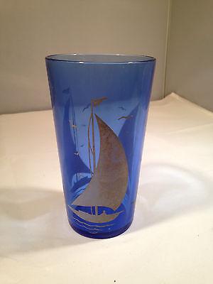 "Depression Glass - ""Sailboats"" 4 7/8"" 10oz. Ice Tea Tumbler"