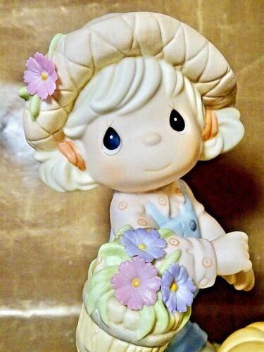"Precious Moments Figurine - ""October- Cosmos: Ambitious"" - Pumpkin & Flowers NIB"