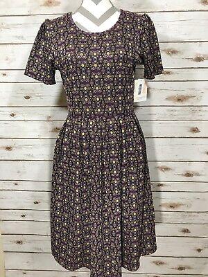 L Large LuLaRoe Amelia Dress Brocade Ikat Purple Yellow Gray Black NWT](Purple Brocade Dress)