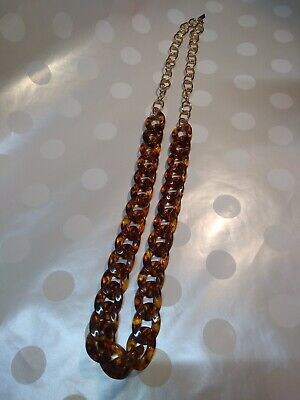 BIG BOLD Tortoise shell lucite chunky chain link gold tone baublebar necklace (Lucite Link)