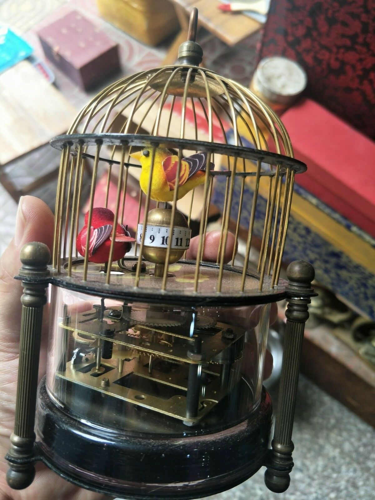 Decorate Old Handwork Copper Two Bird In Cage Mechanical Table Clock