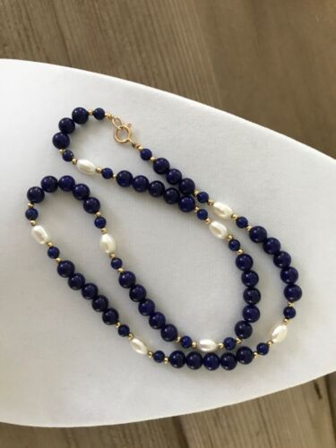 Beautiful Vintage 14K Lapis Lazuli Pearl Necklace 19 inches