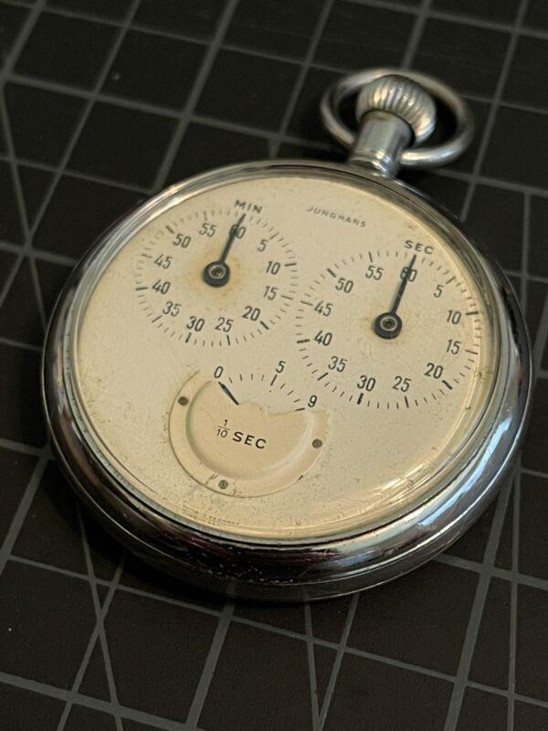 Vintage Junghans 1/10 Sec. Pocket Stopwatch - Works - Winds, Runs, Resets