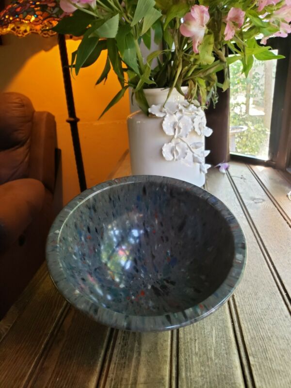 "Vintage BROOKPARK 8"" CONFETTI Bowl - Beautiful BLACK - RED - GRAY-Blue Splatter"