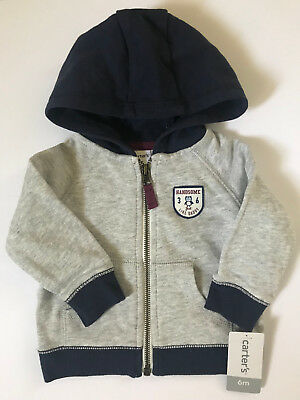 Carters 6 Months French Terry Hooded Zip Cardigan Baby Boy Clothes Gray