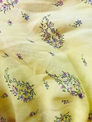 SALE! Designer 100% Cotton Canary Yellow Floral Fine Woven Fabric- By the yard 100% Designer Cotton Fabric