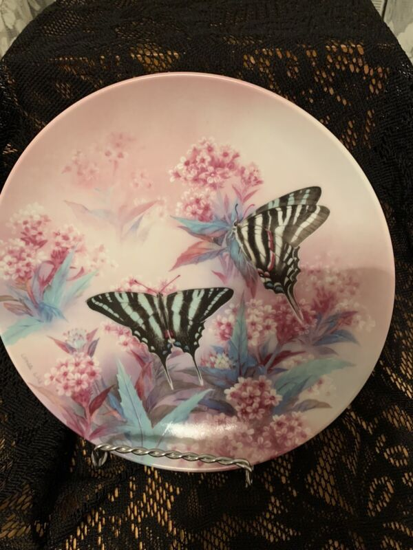 ZEBRA SWALLOWTAILS by Lena Liu Collector Plate W.S. Geoge Fine China (preowned)