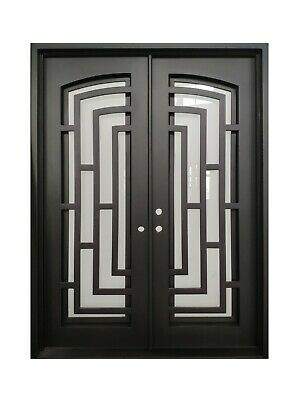 "Belton Double Front Entry Wrought Iron Door Frost Glass 72"" x 96"" Left Active"