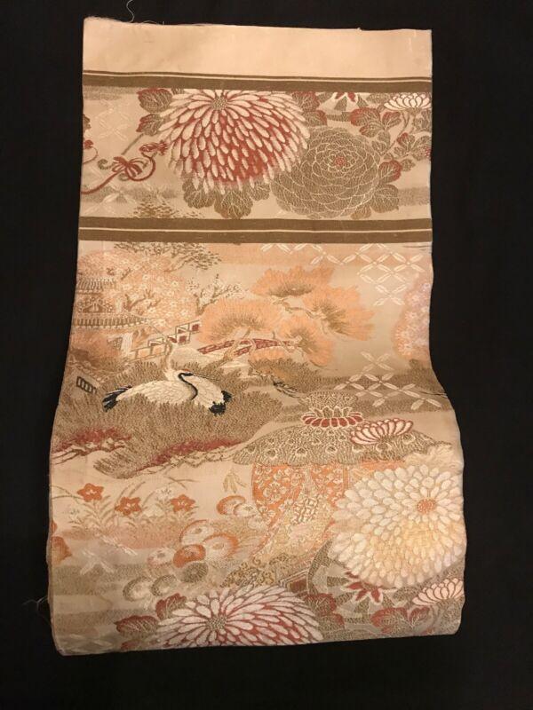 FAB! Antique Japanese Heavy Brocade Silk Tapestry MARU Obi Sash Kimono Belt