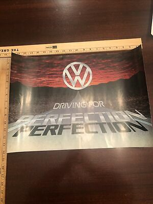 Vintage VW Volkswagen Showroom Advertising Poster Driving For Perfection