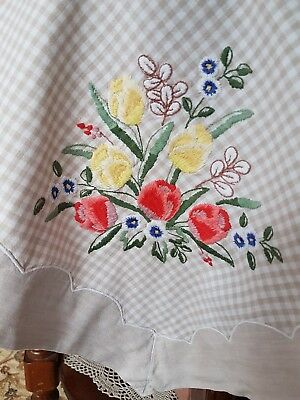 Vintage Beige/Cream Check Embroidered 100% Cotton Tablecloth, Approx 79cm x 78cm