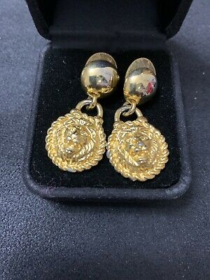 Anne Klein Logo Lion Head Earrings rounded dangle  Button POSTS